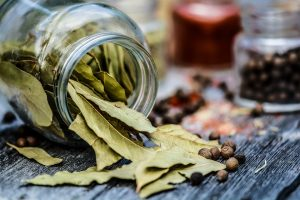 jar with dried bay leaves